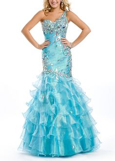 Gorgeous Organza & Satin Mermaid One Shoulder Embellished Fit and Flare Prom Dress