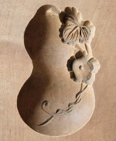 Japanese Antique Kashigata Gourd with Cover Hand Carved Wooden Cake Mold   eBay