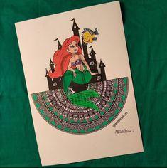 Ariel 👸 Mandala Artwork, Disney Princesses, Mandala Design, Ariel, Doodles, Cards, Maps, Playing Cards, Disney Princess