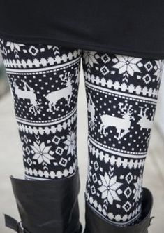 1d2d25ce53 Snowflake Reindeer Printed Casual Leggings - Fairyseason Christmas  Leggings