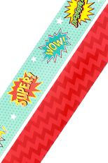 Superheroes Collection, Double-Sided Border Trim, 38 Feet, Motivational Words and Red Chevron