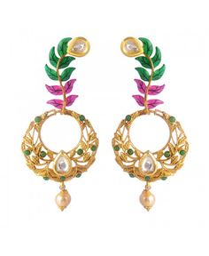 Women's Fashionable Kundan Polki Copper Earrings_Pink Green6