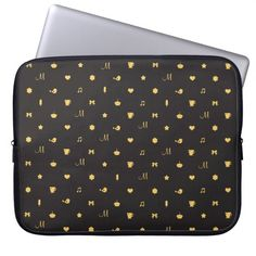 Custom Monogram Cute Icon Pattern Laptop Sleeve // by The Spotted Owl #laptop #bag #bags #sleeves #cases #cover #covers #gold #and #black #monogrammed #initial #with #your #personalized #cupcake #hearts #popsicle #tea #cup
