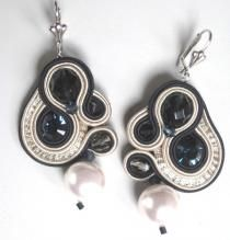 Earrings embroidered with the technique of soutache, inserts with Swarovski crystals