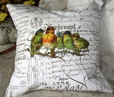Pillow Cover Burlap and Canvas French Script by gatheredcomforts