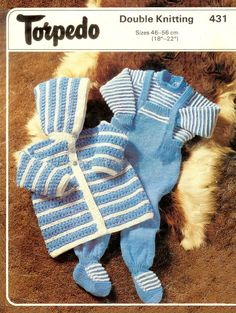 PDF of a Vintage BABY Knitting Patterns - Torpedo 431 - Baby Jumper Dungarees and Hooded JAcket in DK 8 ply Light Worsted sizes 18 to 22 ins    NB: 2 Versions of this PDF is attached. One is a reduced PDF which will download very quickly; if you have problems viewing this then the normal PDF is also here. U.S. YARN EQUIVALENT  Please check the tension/gauge provided in the listing against yarn label:  3ply = Super fine Sock. Baby or fingering  4ply = Fine sports weight yarn  DK...
