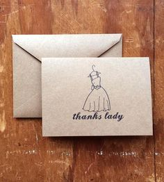 """Share your gratitude with your girlfriends with these hand-drawn notes. The front of each card reads, """"Thanks lady,"""" with an illustrated bouquet, and they're blank inside, to add your personalized thank yous. This set includes five cards, which might just be enough for your maid of honor, bridesmaids and the flower girl."""