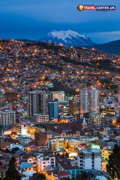 Spending a night at La Paz, Bolivia will guarantee some beautiful landscape views of the city with snow-covered mountains and illuminated houses at night. #bolivia #mountain #twilight #itsallabouttravel