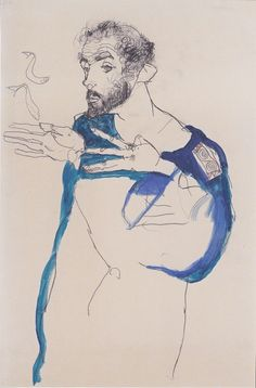 "artimportant: ""Egon Schiele - Klimt in a light Blue Smock, 1913 """