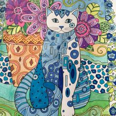 #artistheraphy.  Cat coloring fun