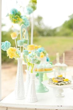 In love with this SEA SIDE + BEACH, GENDER NEUTRAL BABY SHOWER featured on Kara's Party Ideas - www.KarasPartyIdeas.com. If you're planning a baby shower, this is a must see! - I like these for wedding colors
