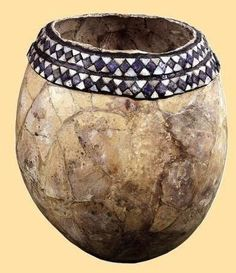 Ostrich egg bowls:  Many ostrich egg bowls were found in the Royal Tombs of Ur; however, because of their fragile nature, very few of them were in good enough condition to be restored