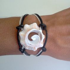 Conch Shell Black Leather Bracelet by Rum Cay Island Jewelry
