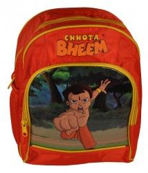 Chhota Bheem Orange Bag Double Zipper