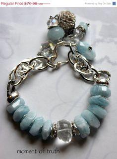 charm bracelet chunky chain bracelet aquamarine by molliecarey