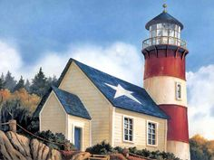 Creative Art of Patriotic Lighthouse
