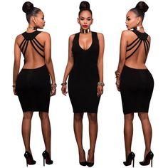Deep V-neck Backless Straps Cross Bodycon Knee-length Dress 947e7ae4f