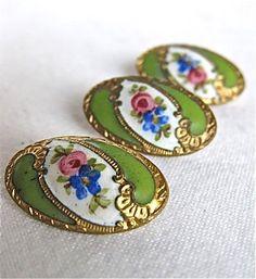 Set of Three Antique Oval Enamel Buttons | eBay
