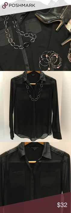 HOST PICK - Guess Button Down Sheer Blouse This button down blouse, by Guess, is made from 100% polyester fabric.  The main fabric is made from black sheer fabric and is trimmed with a black sateen that gives the blouse just the right amount of shine.  I would pair this top with a fancy black lace bodysuit or a pretty black tank underneath.  See pics for care instructions.  It is in excellent condition and comes from a smoke-free home. Guess Tops Button Down Shirts