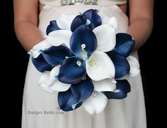 Navy Blue and White Calla Lily Wedding Flowers