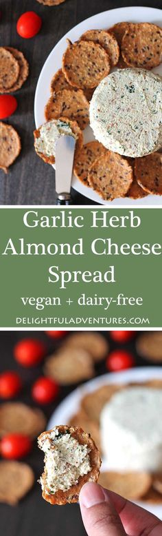 This garlic herb vegan almond cheese spread is bursting with flavour and can be used in so many ways. It's great on crackers, sandwiches, as a veggie dip, and more! via @delighfuladv