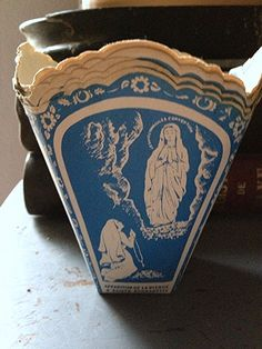 Lourdes Candle Holders from Fleaing France Catholic School Girl, Lourdes France, Catholic Company, Our Lady Of Lourdes, Communion Gifts, Religious Books, Vintage Candle Holders, Holy Mary, Catholic Gifts