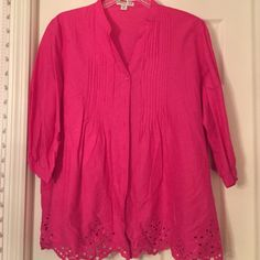 Coldwater Creek pink blouse 100% Cotton. Cutout is all the way around bottom of blouse. Cute top and cool Coldwater Creek Tops Blouses