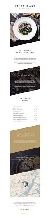 Describe this design with a single word!   European Restaurant Responsive Newsletter Template CLICK HERE! live demo  http://cattemplate.com/template/?go=2epxqEp