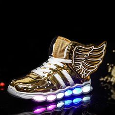 Children Shoes With Light usb Boys And Girls Casual LED Shoes For Kids Usb Charging 2016 LED Light Up 4 Colors Wing Kids Shoes