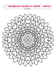Mandala coeur à colorier - facile