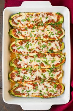 These low-carb lasagna boats are totally gluten-free, but three different kinds of cheese means they're definitely full of flavor. Get the recipe here. Per one serving (two boats): 482 calories, 30 grams fat, 21 grams carbs, 36 grams protein
