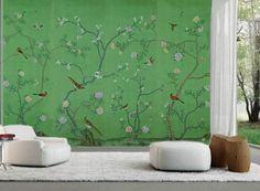 爱 Chinoiserie? Mais Qui! 爱 home decor in Chinese Chippendale style - lovely green chinoiserie wallpaper