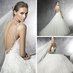 LOVE the jeweled straps!  This gown is a must-see for all ballgown lovers!   Prala by Pronovias - In-store Off-White, size 10 #eogowns  #weddingdress  #gettingmarried  #engaged  #pronovias  #ido