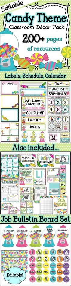 Candy Themed Classroom Decor Pack ⭐editable! Teacher Created Resources, Free Teaching Resources, Teaching Ideas, Candy Theme Classroom, Classroom Decor, First Year Teachers, New Teachers, Schedule Cards, Education Information