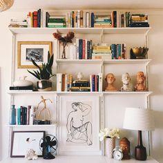 How i designed wall-mounted shelving with ikea — eliza kern design Apartment Inspiration, Shelf Inspiration, Decoration Inspiration, Track Shelving, Elfa Shelving, Shelving Systems, Ikea Wall Shelves, Wall Mounted Shelves, Ikea Shelves Bedroom
