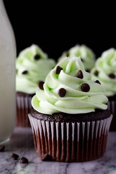 Rich, super soft Chocolate Cupcakes topped with super creamy Mint Frosting. If you love Mint Chip Ice Cream - you need to make these Mint Chocolate Cupcakes