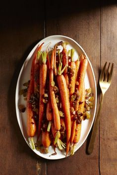 Roasted Carrots with Chestnuts and Golden Raisins #myplate #veggies #inseason #fall #food #recipe