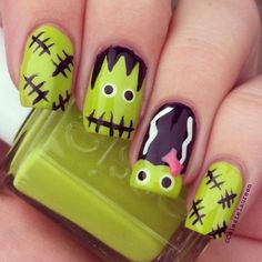 girls, hope you all are anticipating the event called Halloween, it is going. - Nails -Hey girls, hope you all are anticipating the event called Halloween, it is going. Nail Art Designs 2016, Holiday Nail Designs, Holiday Nail Art, Halloween Nail Designs, Fall Nail Art, Love Nails, Pretty Nails, Monster Nails, Frankenstein's Monster