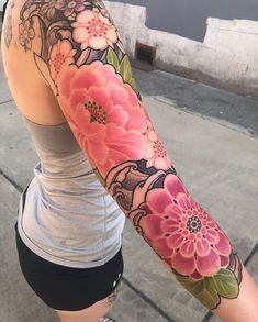 On this board I pin only tattoo designs pictures :) Colorful Sleeve Tattoos, Unique Half Sleeve Tattoos, Girls With Sleeve Tattoos, Japanese Sleeve Tattoos, Geometric Tattoos, Tribal Tattoos, Tattoo Sleeve Designs, Flower Tattoo Designs, Flower Tattoos