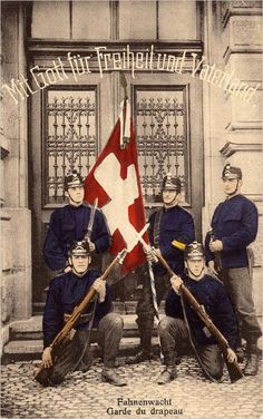 "Swiss military 1914 ""Flag Guard"" Ww1 Soldiers, Wwi, World War One, First World, Engelberg, Honor Guard, German Uniforms, Military Photos, Army Soldier"