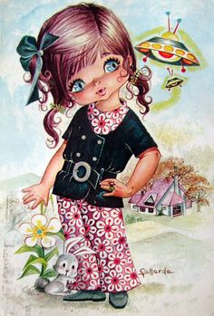 Vintage Big Eyed Girl 70's Postcard