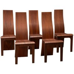 """For Sale on - Set of five high back rosewood bent plywood dining chairs by Hans Karlsson. Label on underside: """"Hans K - Furniture in Time"""". Recycled Furniture, Refurbished Furniture, Ikea Furniture, Plywood Furniture, Furniture Sale, Furniture Design, Furniture Ideas, Western Furniture, Rustic Furniture"""