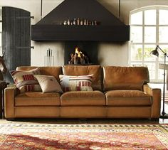 "Love the look of this sofa (especially the toffee color of the leather.) and the accent pillows. Turner Leather Square Arm Sofa #potterybarn comes in 3 sizes, 73.25"", 85.5"" and 104.5"""