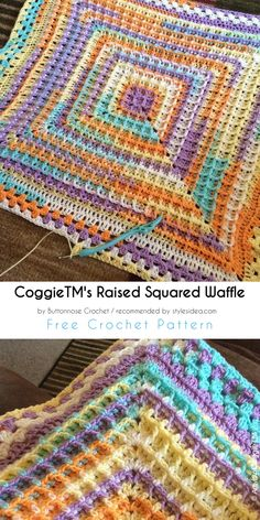 Raised Squared Waffle Free Crochet Pattern #freecrochetPatterns #crochetafghan