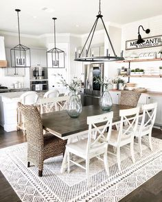 Awesome farmhouse dining room design ideas that looks cool 1 Dining Room Sets, Dining Room Design, Dining Area, Over Dining Table Lighting, Dining Room With Rug, Dinning Room Ideas, Design Table, Patio Dining, Design Kitchen