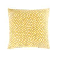 Gelbes Kissen mit weißen grafischen Motiven 45x45 | Maisons du Monde