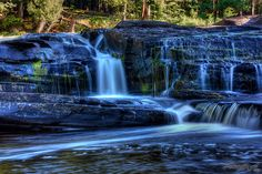 Manido Falls, Presque Isle River, Michigan.