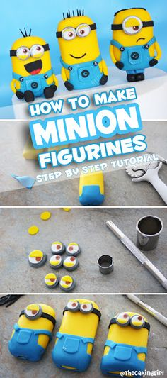 MINION FIGURINES TUTORIAL - how to make minion figurines for cakes and cupcakes, step by step instructions and guide to make the perfect Despicable Me minion cake design! Tips on how to make an edible (Cake Decorating Step By Step) Torta Minion, Bolo Minion, Fondant Minions, Minion Cupcakes, Fondant Toppers, Fondant Cakes, Cupcake Cakes, Cake Topper Tutorial, Fondant Tutorial