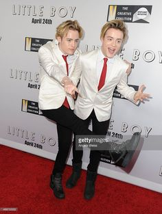 Presenters John and Edward Grimes aka Jedward attend the premiere of Open Road Films' 'Little...