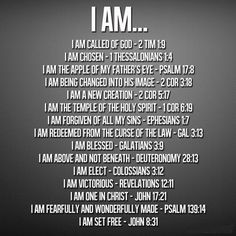 """Who are you? """"Who I am in Christ"""" poster - many scripture references answer the question. Companion poster would be I AM - listing the many scriptures that tell us who God THE I AM is, for us by His Love."""